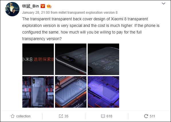 Lin Bin shows the Xiaomi Mi 9 will obtain an Explorer Edition
