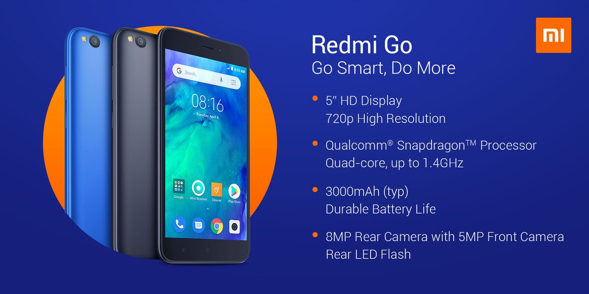 Xiaomi releases Redmi Go Android Go telephone for EUR80