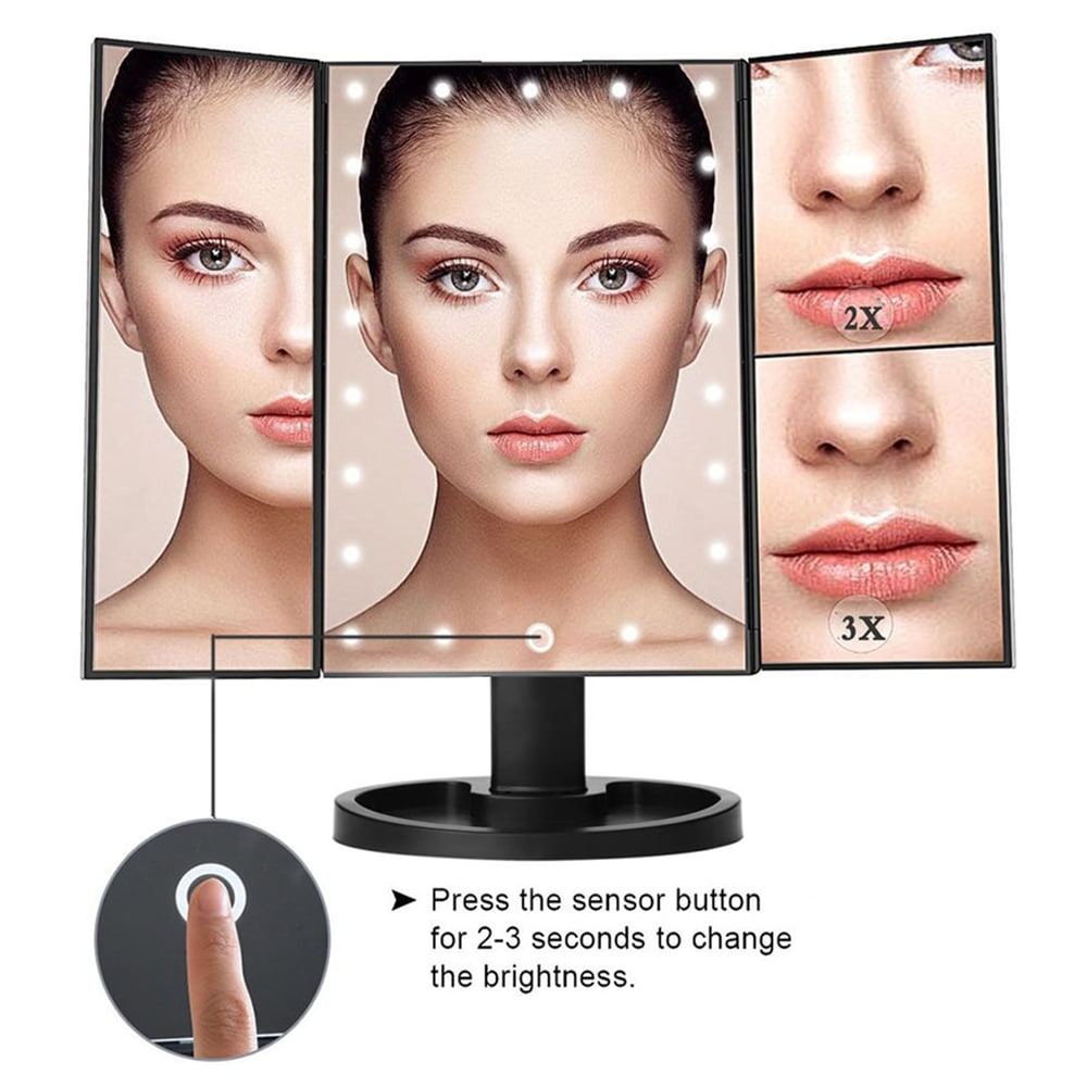 🔥LED Light Touch Screen Makeup Mirror Desktop 3 pieghevole Ingrandimento 1X / 2X / 3X / 10X