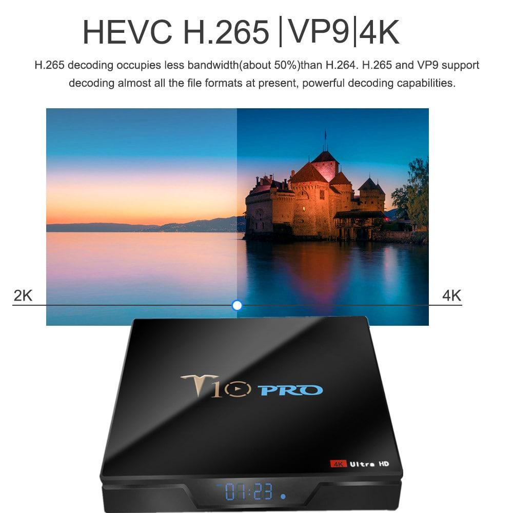 T10 Pro TV Box – NERO SPINA UE DA 4 GB RAM + 64 GB ROM
