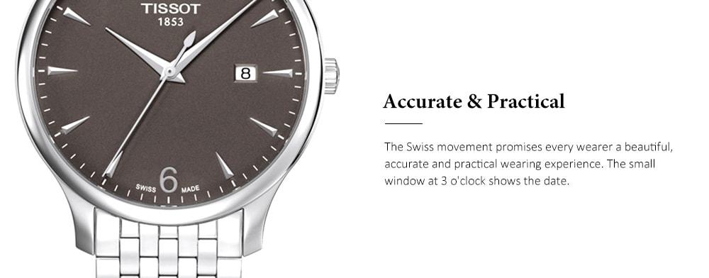 TISSOT Classico orologio al quarzo elegante con cinturino in acciaio per uomo