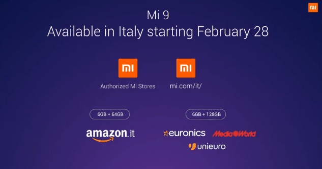 Xiaomi Mi 9 starts at €449 on global launch, Italy included