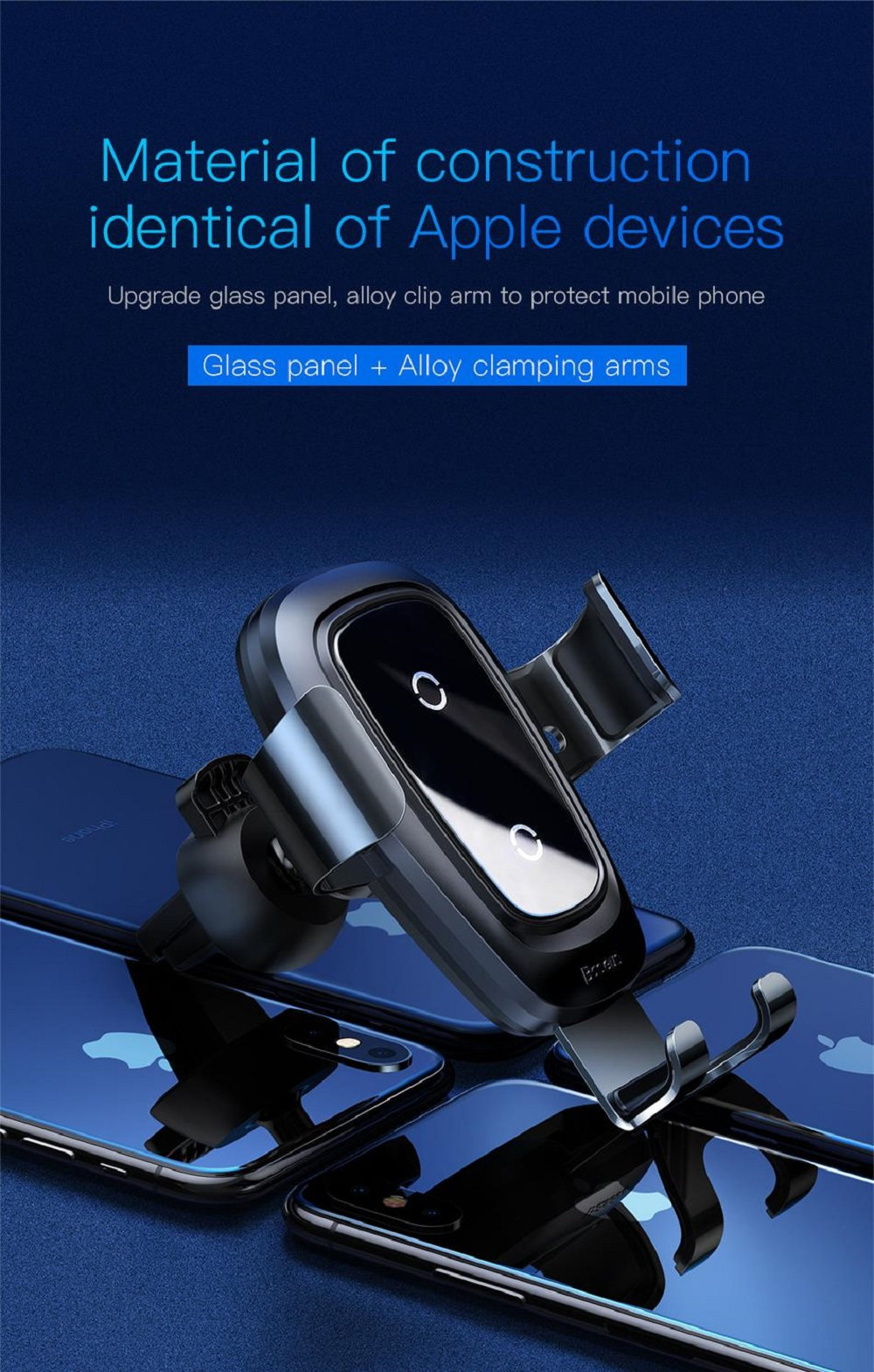 Baseus Qi Wireless Car Fast Charger Gravity Sucker Bracket 10W 360 Degrees Rotary